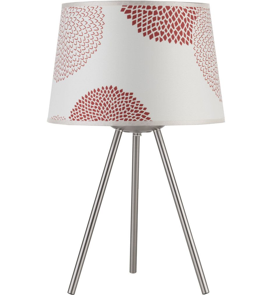 Lights Up! - 600BN-PEN Weegee Brushed Nickel 20 Inch Table Lamp with Penguin Tweed Shade