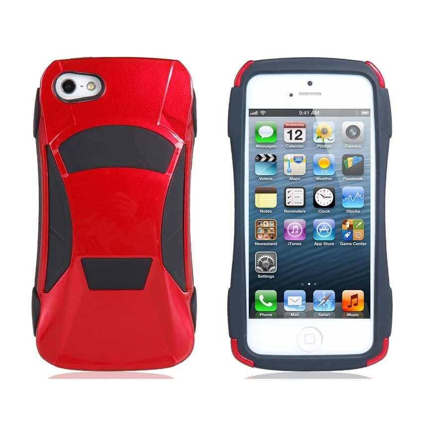 3D Car Silicone Protective Case For IPhone 5 Red