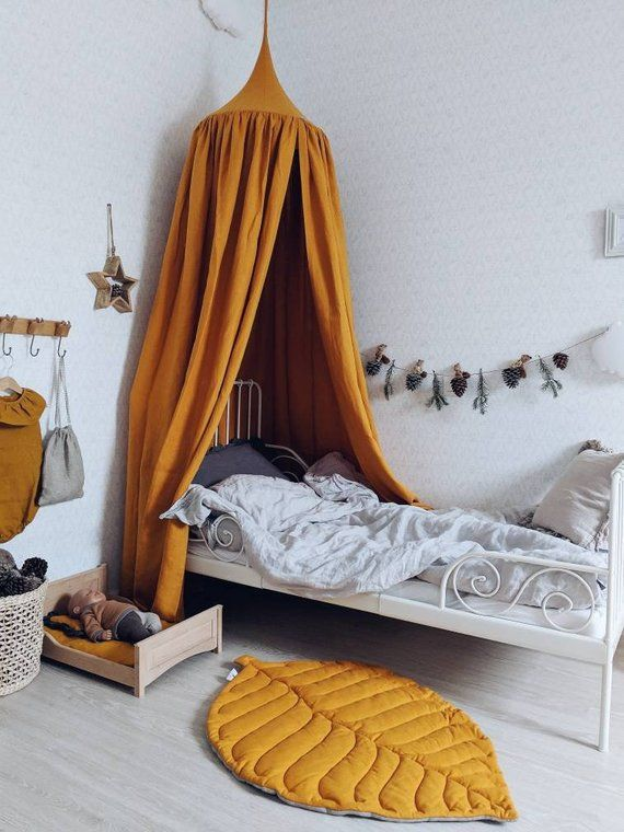 Bed hanging canopy & Leaf play mat, natural linen   20% OFF for SET