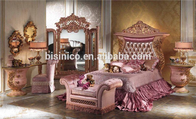 Italian Luxury Design Children Bedroom Furniture Set Elegant Pink Princess Bedroom Set Latest Ornate Italian Bedroom Bedroom Furniture Pink Bedroom Furniture