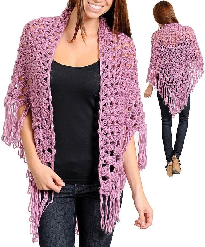 SEXY LILAC PURPLE OPEN WEAVE SWEATER KNIT PONCHO COVER-UP FRINGE HEM - interieur trends im sommer inspiration bilder