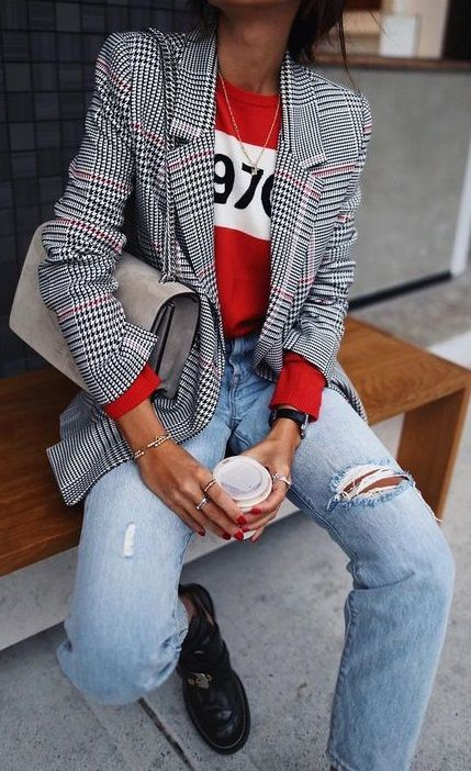 fall street style. red sweatshirt. plaid blazer. denim.