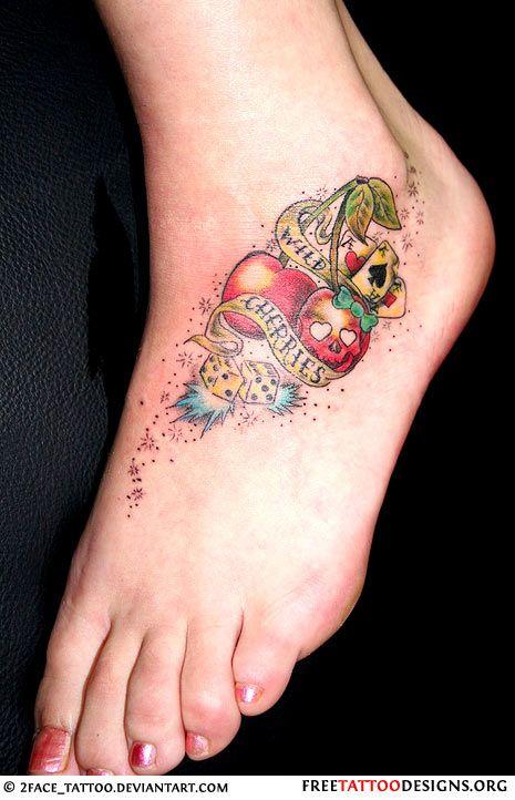 old school cherry tattoo on foot dana cherry tattoos. Black Bedroom Furniture Sets. Home Design Ideas
