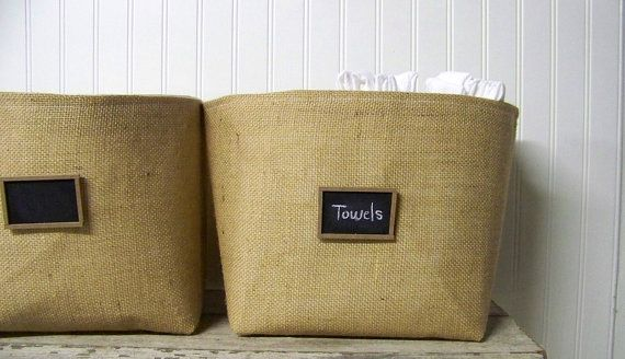 Toile Laundry Room Ideas: Large Burlap Chalkboard Basket