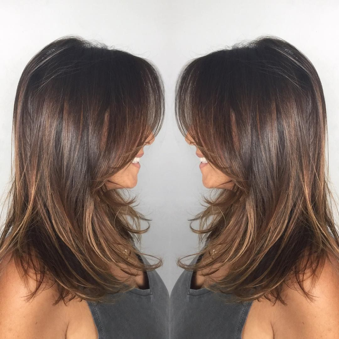Darkashbrown Midlength Layers Wispy Hair Withdark Ash Brown Mid Length Hair With Wispy Layers Haircuts For Medium Hair Hair Lengths Medium Hair Styles