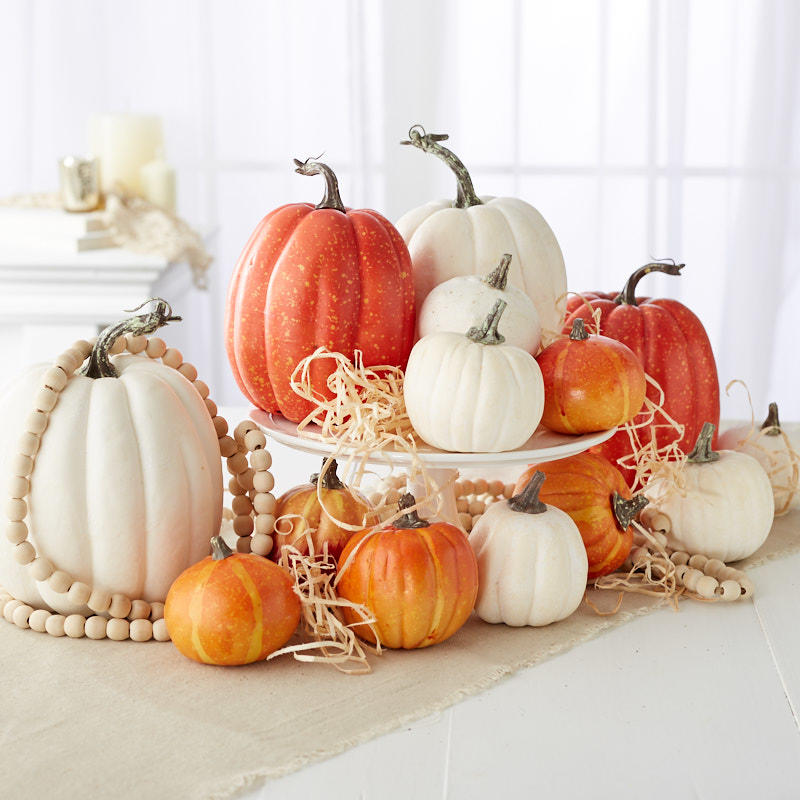 Assorted Artificial Orange and White Pumpkins Pumpkins