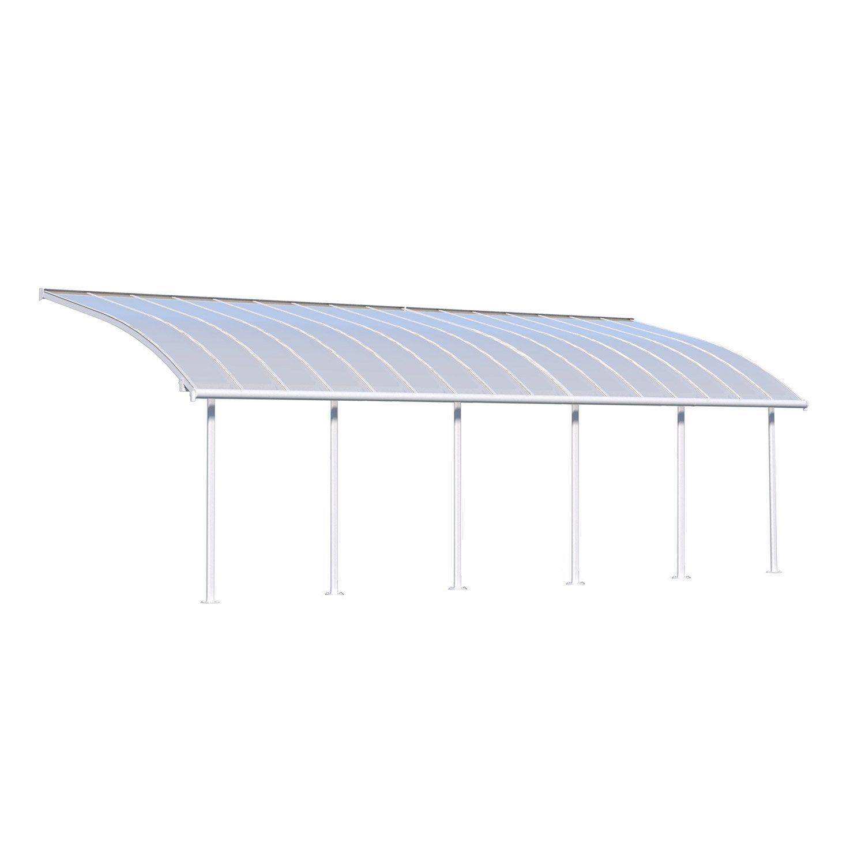 Pergola Adossee Blanche Olympia 27 3 M Aluminium Et Polycarbonate Palram Auvent De Patio Pergola Pergola Bioclimatique