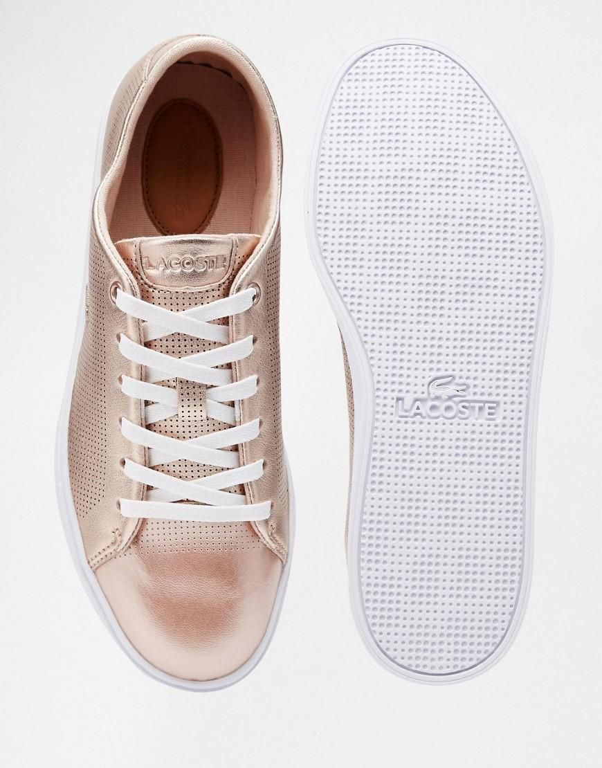 c3c378eb184c Lacoste | Lacoste Showcourt Lace 2 Rose Gold Leather Sneakers at ASOS