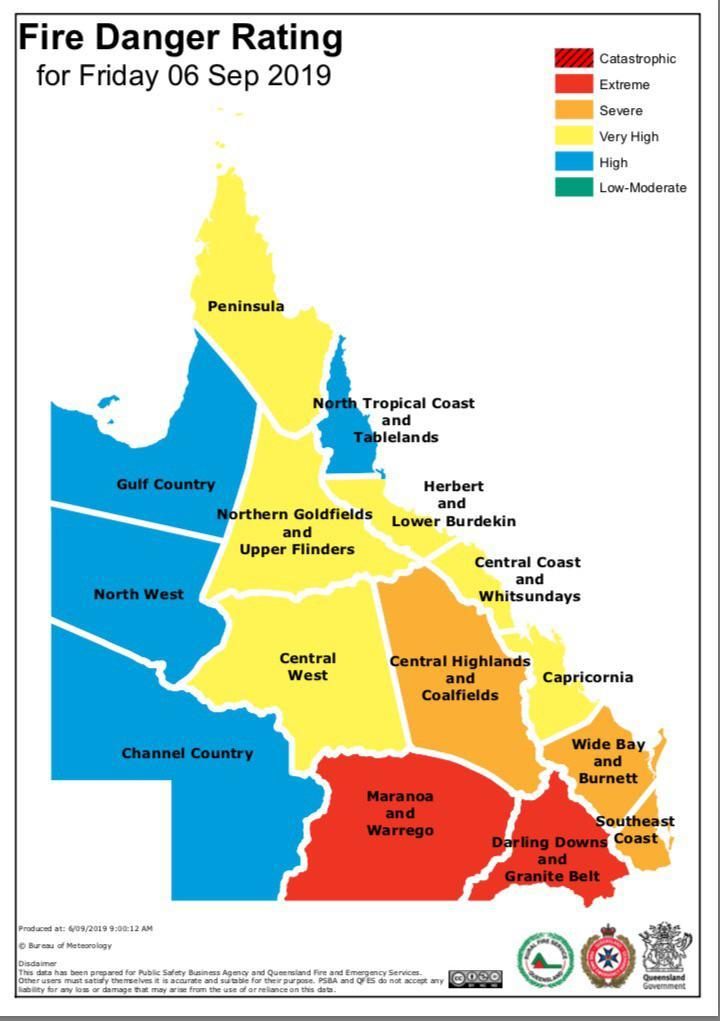 Fire Danger Rating for Queensland, Sept. 6, 2019 in 2020