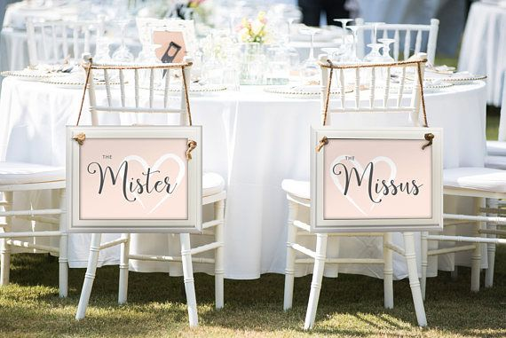 Wedding Chair Signs, Mister And Missus, Instant Download, Wedding Decor, DIY  Wedding
