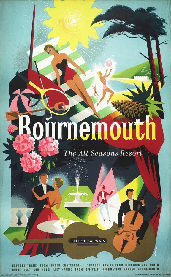 Vintage British Rail Bournemouth All Season Resort Railway Poster A3//A2 Print