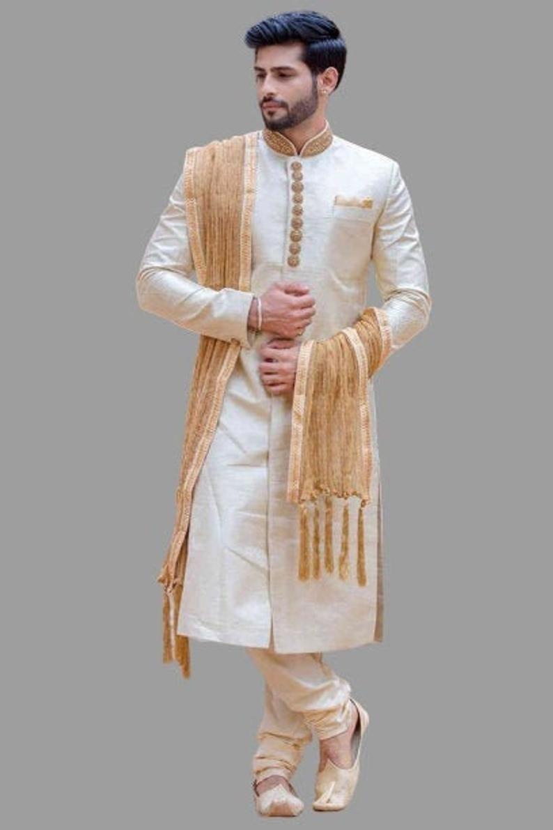 Men Sherwani For Men Indian Wedding Sherwani For Groom Wear Etsy Indian Groom Wear Sherwani Groom Wedding Dresses Men Indian [ 1191 x 794 Pixel ]