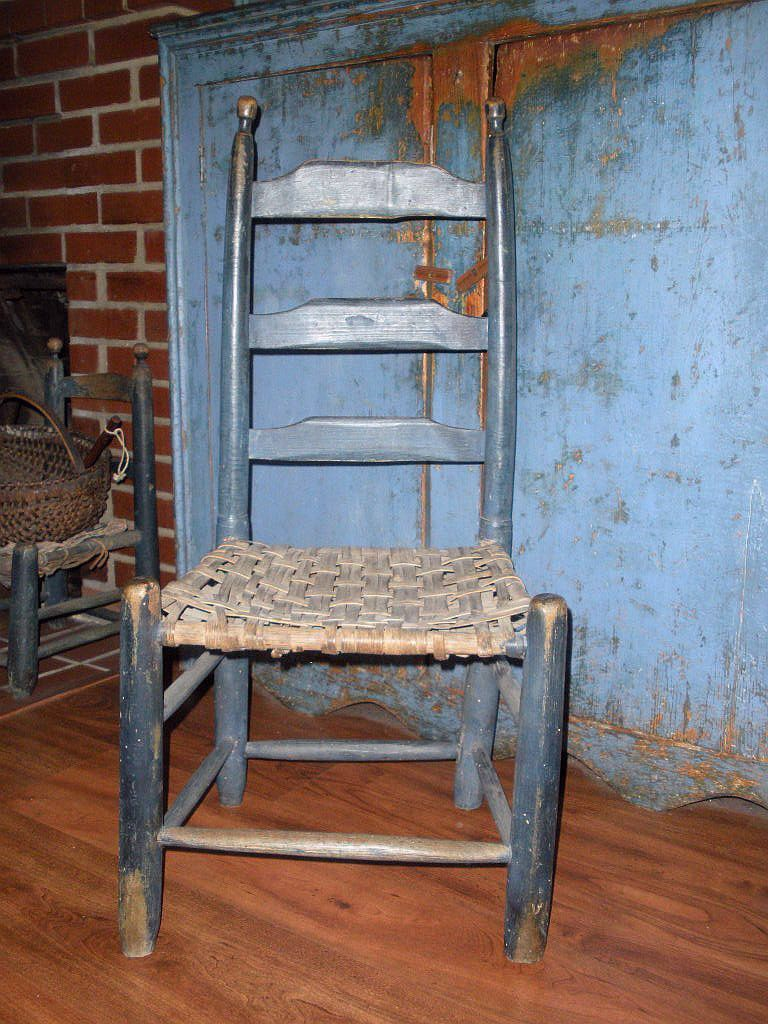 C1800-1820 CT slat-back youth chair with rush seat in paint. - C1800-1820 CT Slat-back Youth Chair With Rush Seat In Paint. Blue