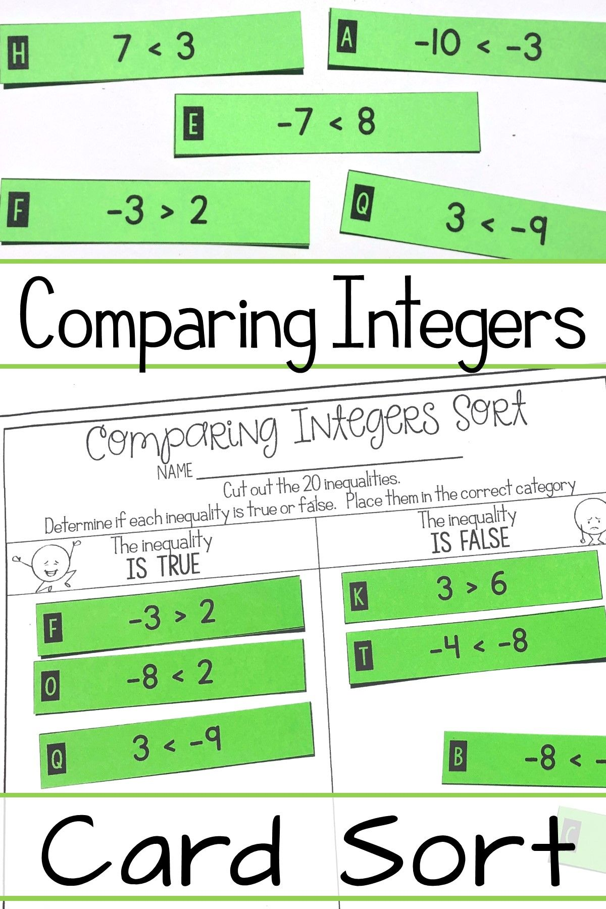 Comparing Integers Activity Positive Amp Negative