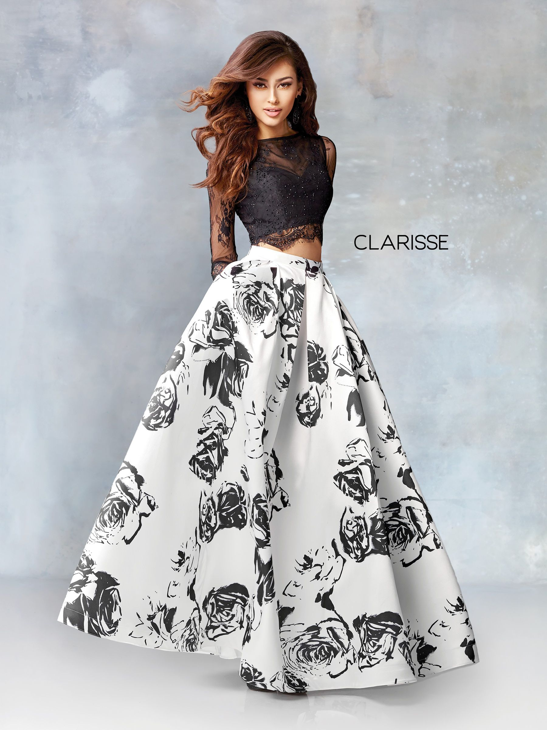 3579 Black And White Two Piece Dress With Laced Long Sleeves And A Floral Mikado Print Gown Thời Trang [ 2400 x 1800 Pixel ]