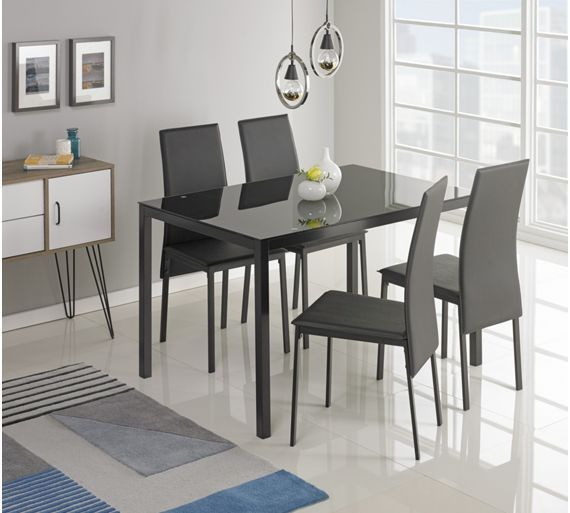 Buy Hygena Lido Glass Dining Table and 4 Chairs Black at Argos