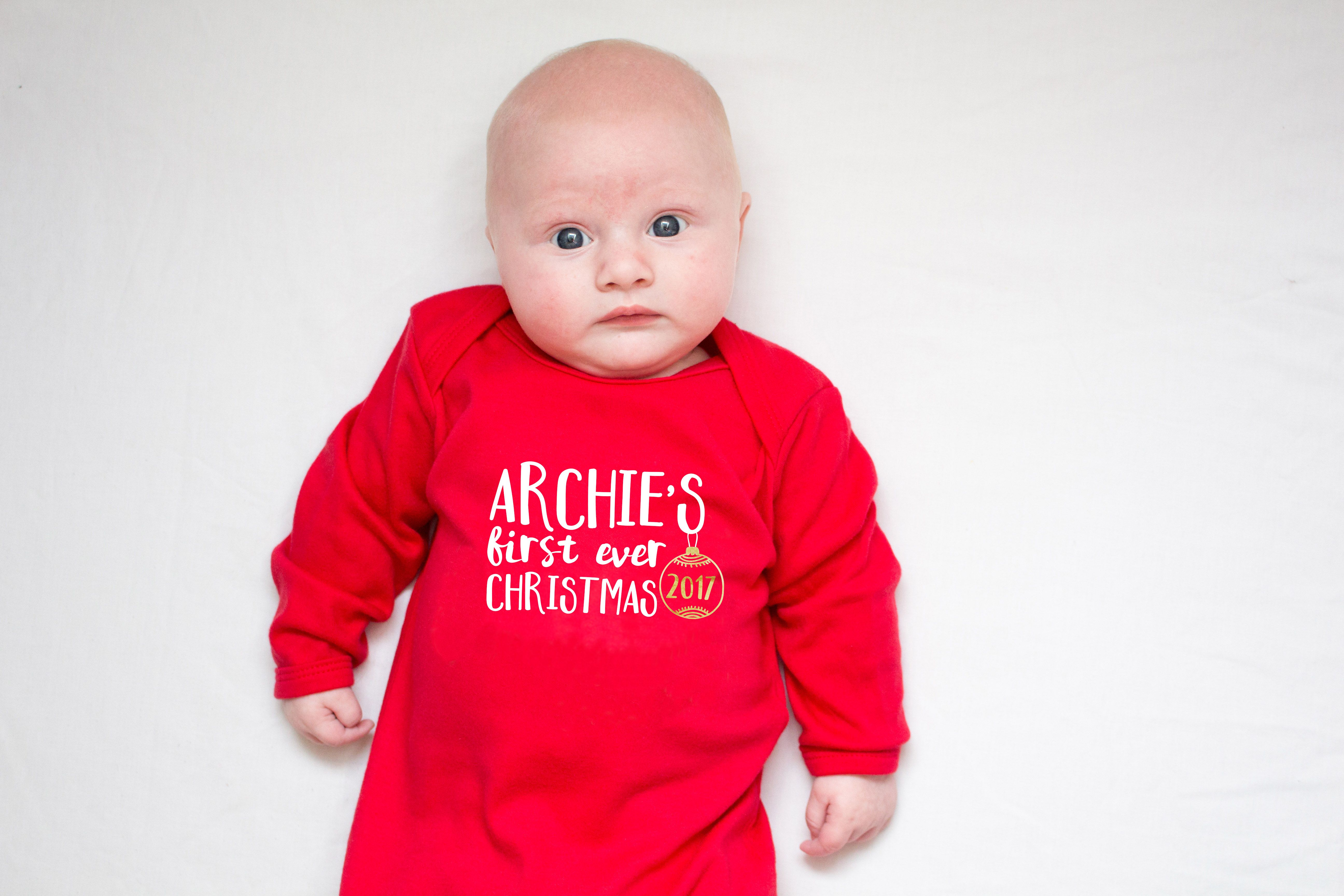 faa49b6299a7c Personalised Baby's First Ever Christmas Sleepsuit | Baby's First ...