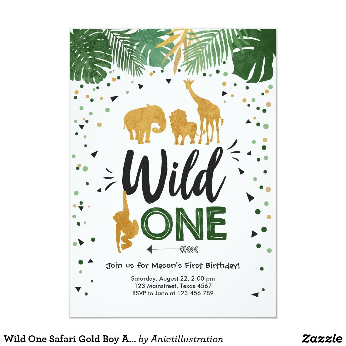 Wild One Safari Gold Boy Animals Birthday Party Invitation | Zazzle.com #safaribirthdayparty