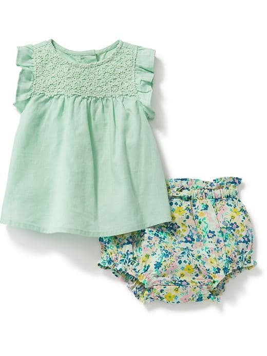 879dcde64 Linen-Blend Top & Floral Bloomer Set for Baby | Mini me's | Baby ...