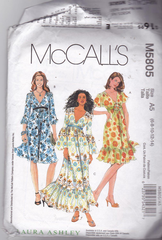 McCall\'s M 5805 Pattern 6 8 10 12 14 Uncut Boho Dresses Laura Ashley ...