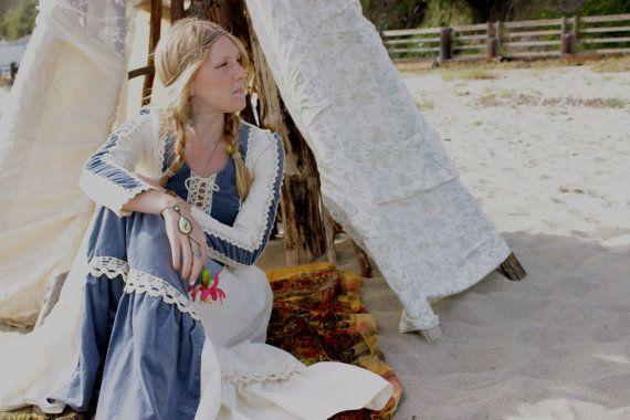 Vintage Blue Velvet Gunne Sax 1970s Prairie by FallowFlower, $85.00