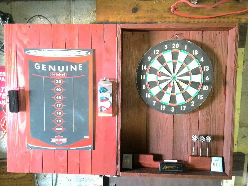 Harley Davidson Dart Board Cabinet Made From Old Barn Wood