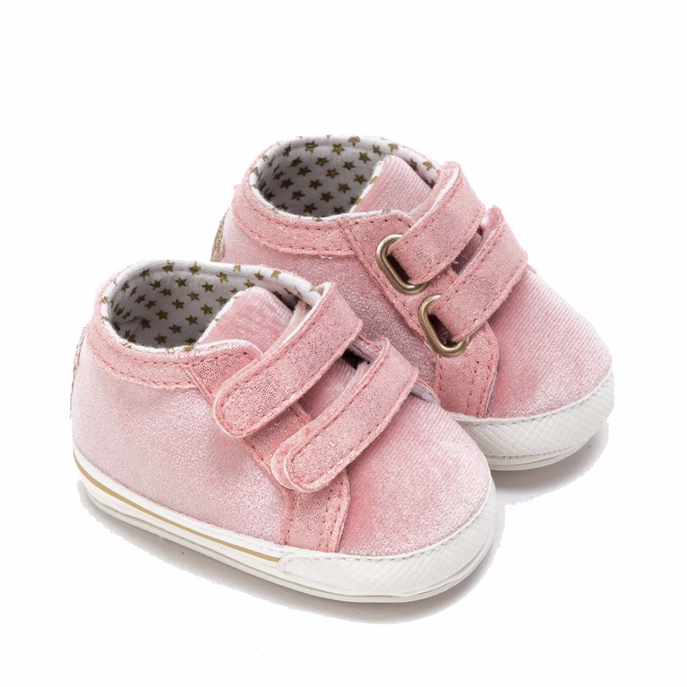Mayoral Glitter Velcro Crib Shoes With Star On Back Pink Babyshop Com Newborn Shoes Girls Shoes Crib Shoes