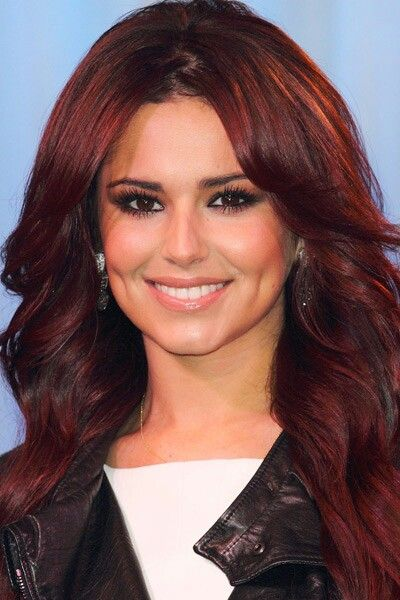 Red Dark Rich Burgundy Cherry Wine Long Layers Center Part Wavy Red Hair Celebrities Hair Color Guide Auburn Hair