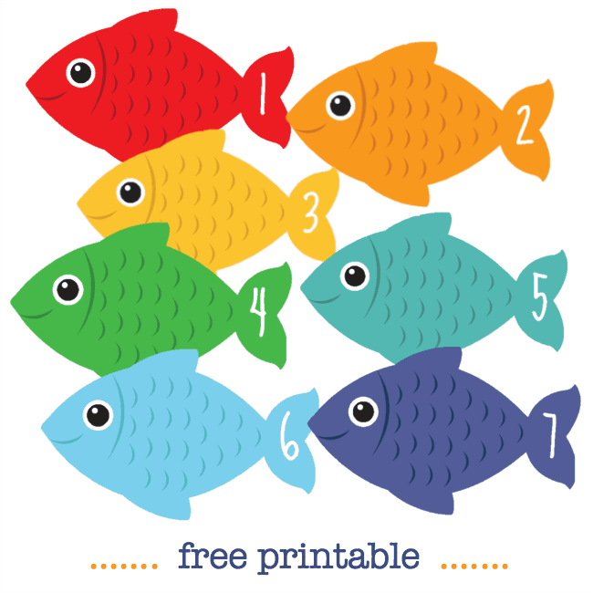 Number fish free printable math counting cards | Fish ...