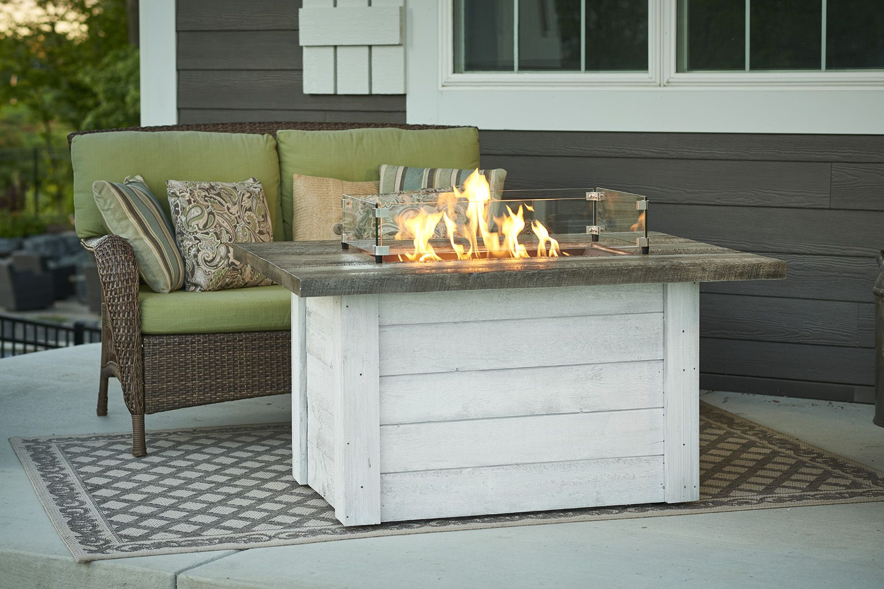 Alcott Fire Pit Table Features A White Was Cedar Base Fire Pit Table Rectangular Gas Fire Pit Gas Fire Pit Table Modern outdoor fire pit table