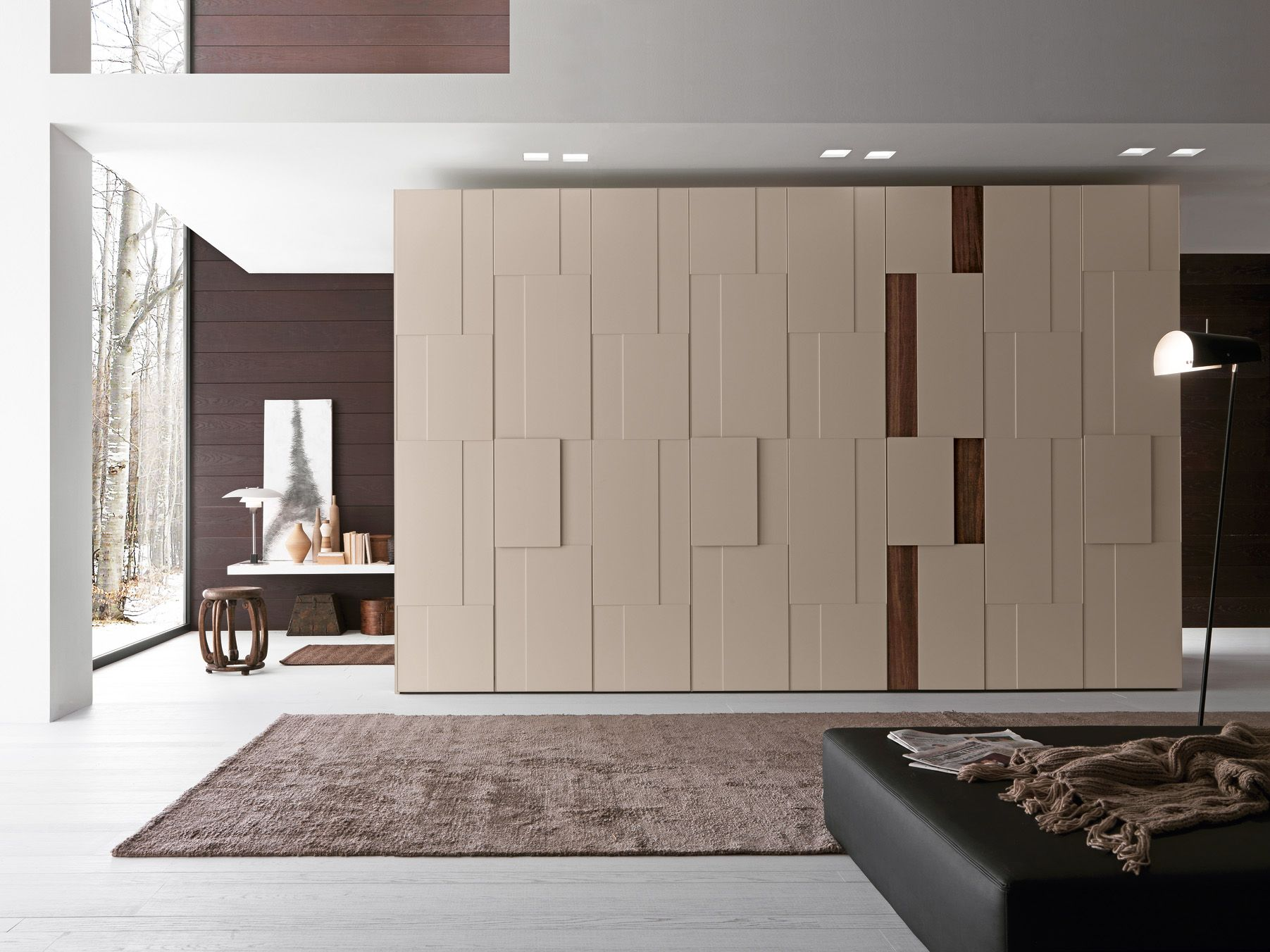 Brown Theme Interior Design For Wardrobe For Bungalow Interior Alluring Latest Almirah Designs Bedroom Decorating Design