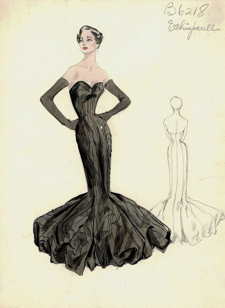 evening gown sketch by Elsa Schiaparelli, 1950s | Fashion: Sketches ...
