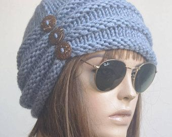 c3c2c363b64 Womens Hats blue chemo Hat beret Hat Slouchy Women Hat cable Slouch Beanie  Women Hat Oversized Hat Cable Hat Chunky Knit Hat