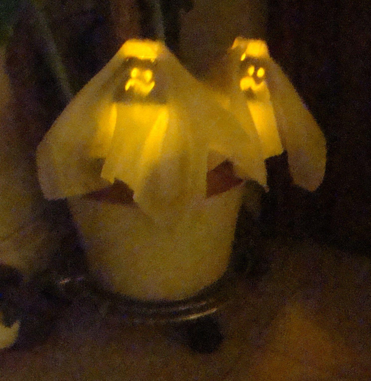 Fantasmitas reciclados, con envases de postre, tafeta y led para clavar en macetas, parque o llevar en la mano como linternas en la noche de Halloween. www.lacaloatamosconalambre.com