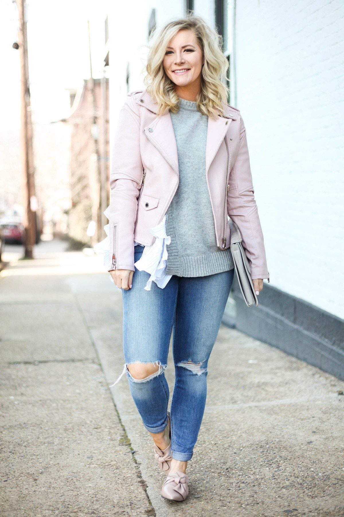 Blush pink moto jacket to transition into spring the best of