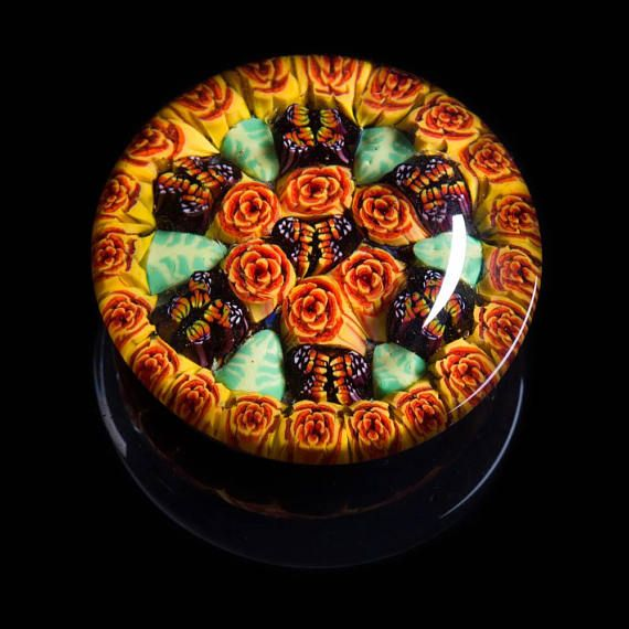 Duffglass Artisan Orange Butterfly Millefiori Lampworked Flamework