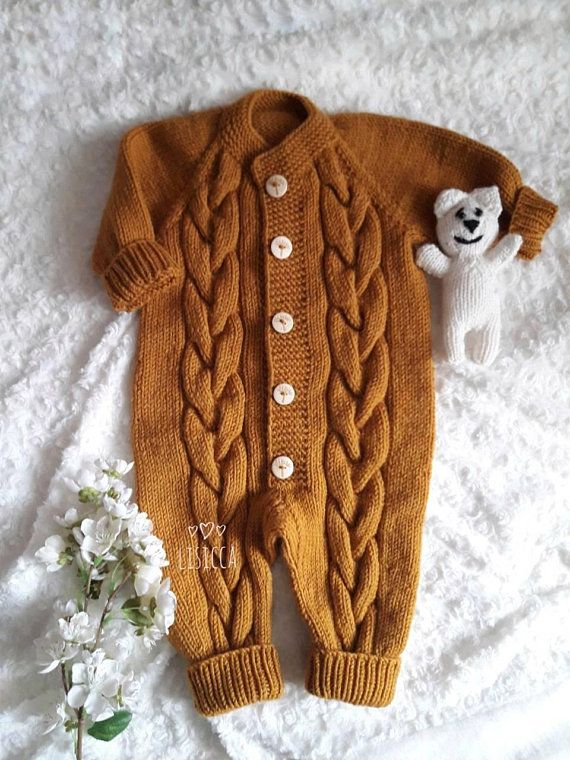 Hand knitted romper 6-9 months Knitted baby clothes Knit wool baby Jumpsuit  Baby girl boy knitted ju 36cfb11454f