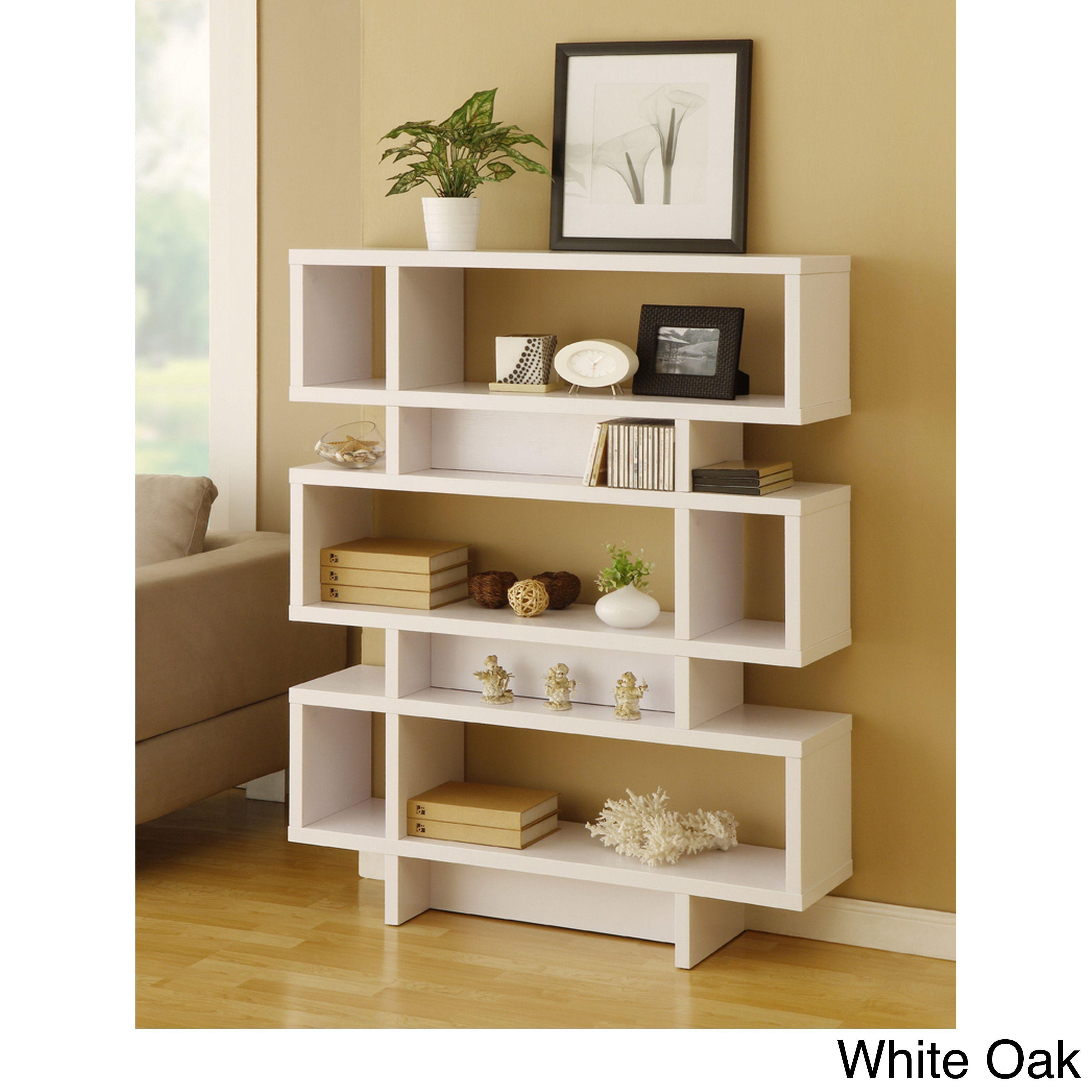 Furniture of america tier display cabinet bookcase black oak