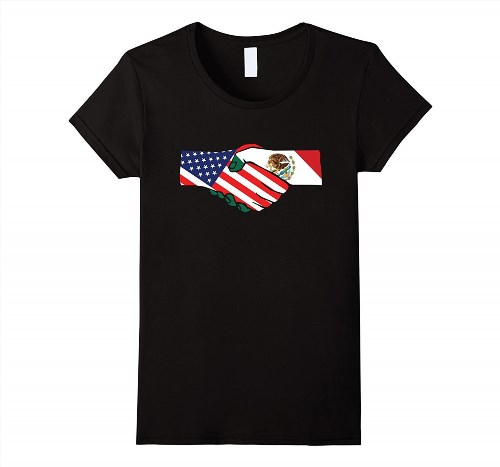 19.95$  Buy here - http://vidvn.justgood.pw/vig/item.php?t=6y1f2a12522 - USA and Mexico Handshake T-Shirt Women 19.95$