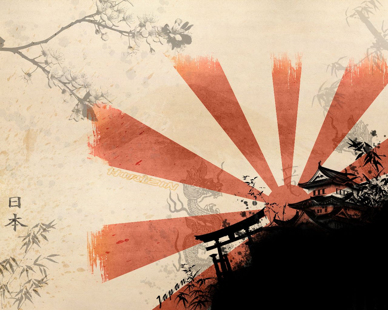JAPANESE ART | Samurai+Japanese+Wall+Art+and+Cherry+Blossom+Art+Wallpaper  Japan .