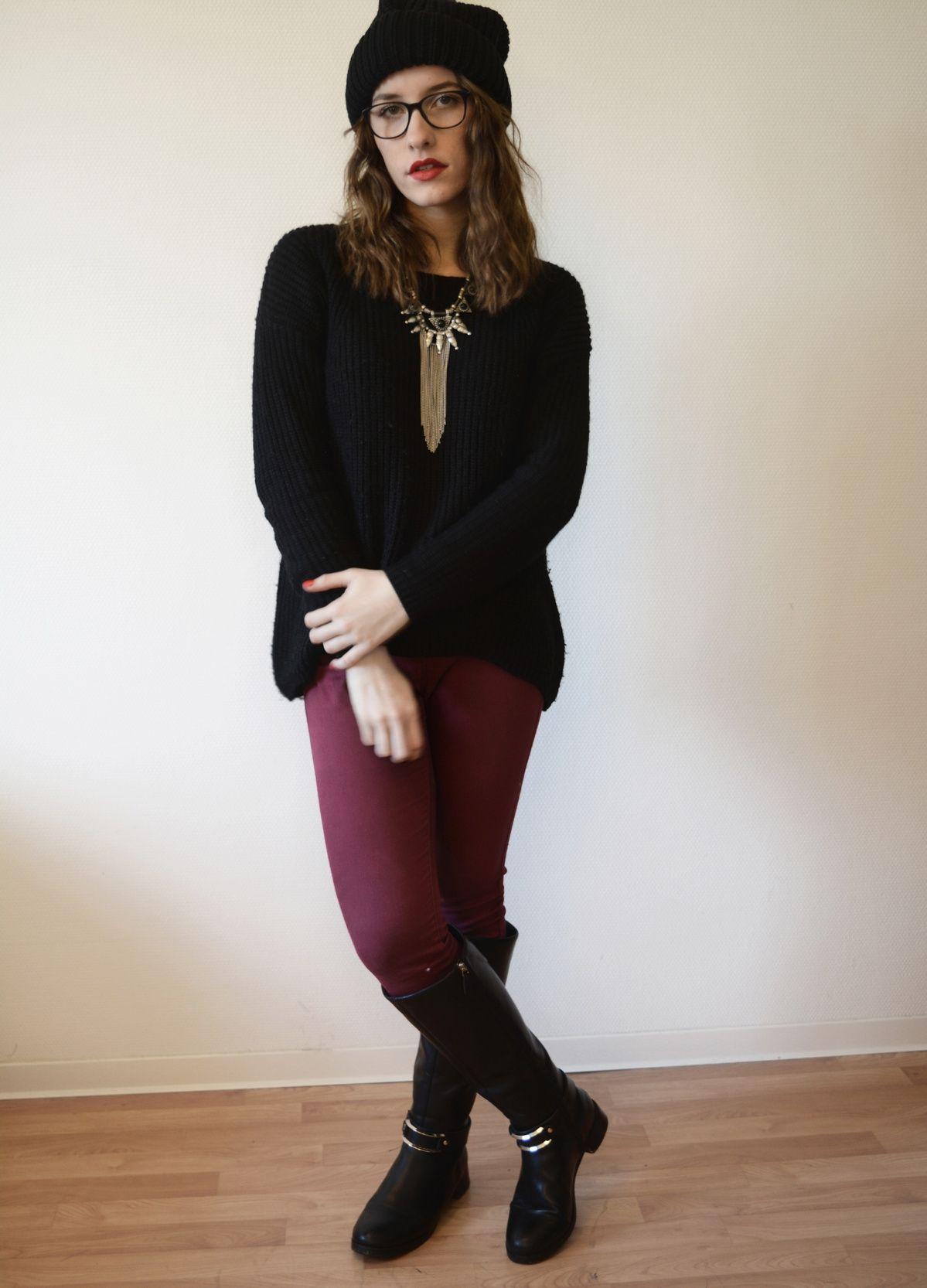 style outfit winter pull noir jean bordeaux