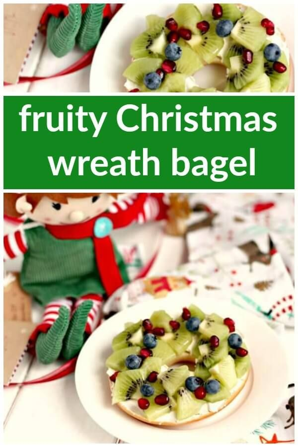 Fruity Christmas Wreath Bagel #northpolebreakfast
