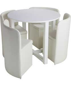 Buy Hygena White Gloss Space Saver Table and Chairs at Argos.co.uk ...