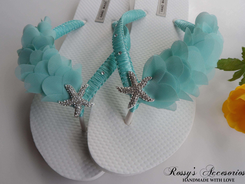 9aee1c42c Aqua Blue Bridal Flip Flops   Beach Wedding Flip Flops   Rhinestone Flip  Flops   Chiffon Leaf Flip Flops.  Bridesmaids.