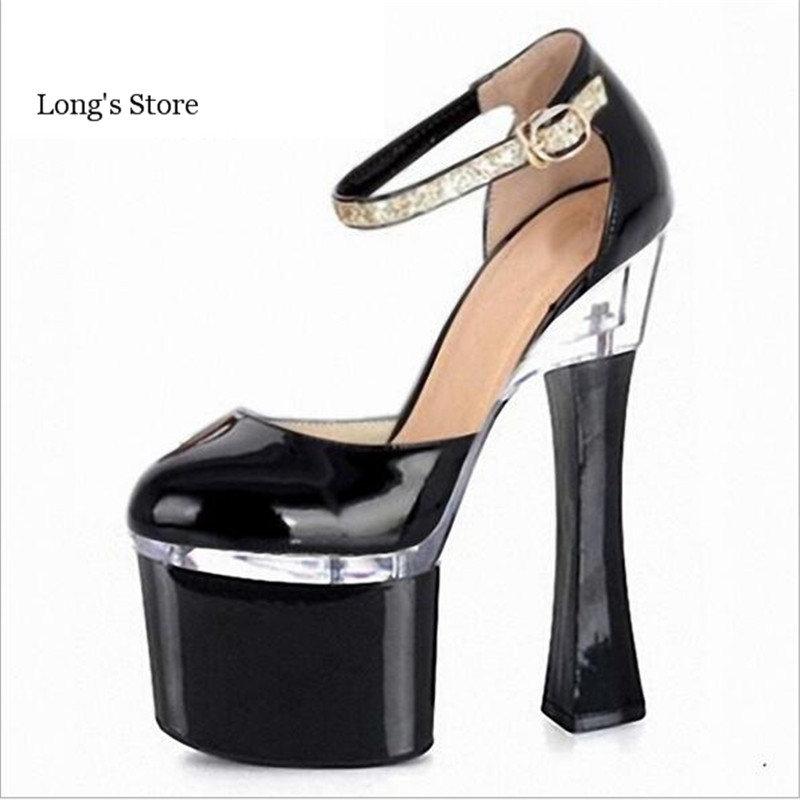 59.88$  Buy here - http://alilz2.worldwells.pw/go.php?t=32679272556 - CDTS:Plus:35-45 46 Spring 18cm zapatos mujer rquare heels sexy Patent Leather platform pumps women's wedding shoes drop shipping 59.88$