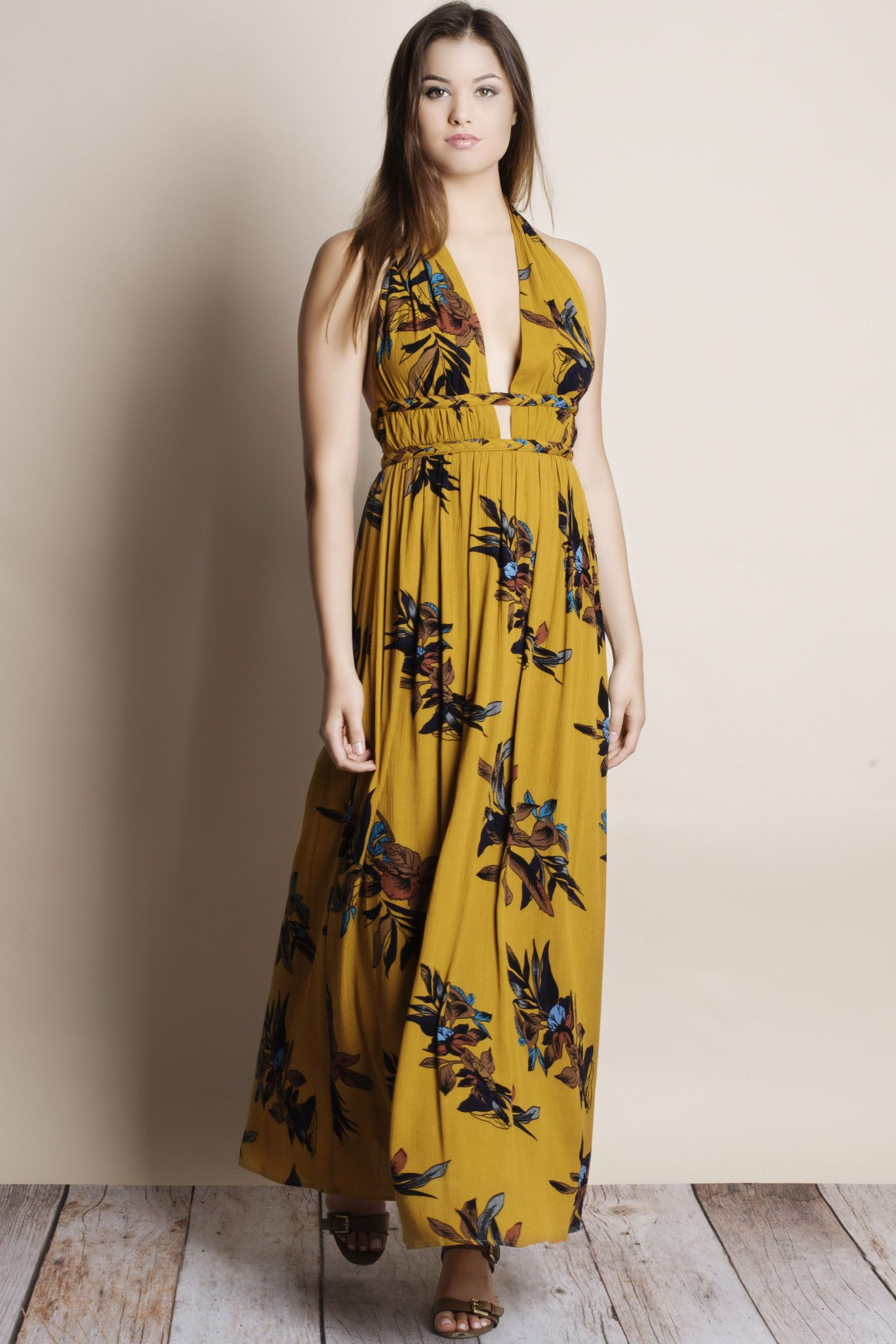 ee651c55e55 A Sunset Backless Floral Maxi Dress (mustard) - Bare Anthology