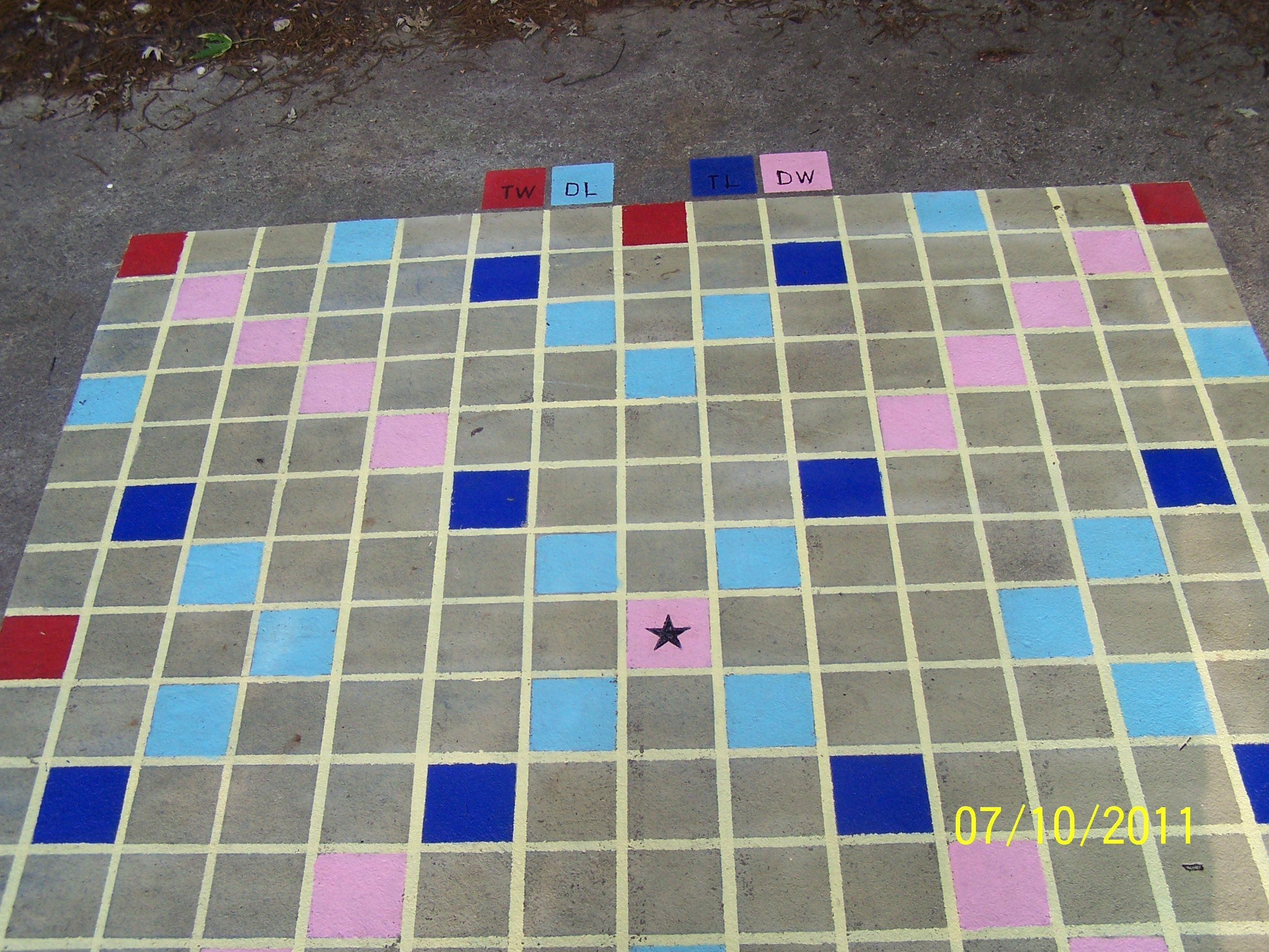 how to make a large backyard scrabble board on concrete scrabble