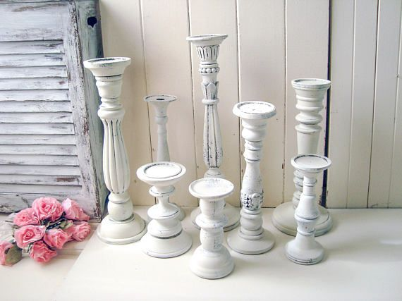Rustic White Candle Holders Farmhouse Tall Ornate Candlestick