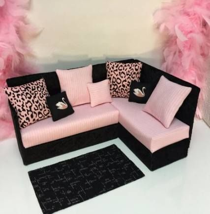 18 Doll Furniture - American Girl sized Living Room - Loveseat / Chair / Coffee Table / End Table / Lamp / Rug - MyKingList.com #dollfurniture