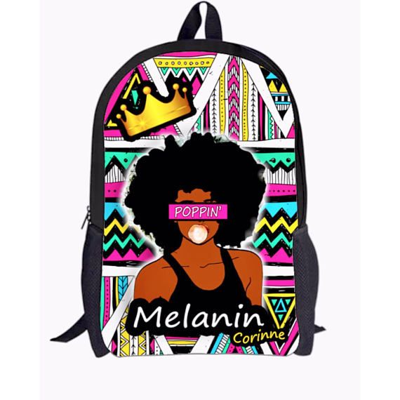 Melanin Poppin Black Girl Magic Custom Backpack and Cell Phone Case for African  American Girl Natural Hair Regular Size Middle School age to e186702cce8e2